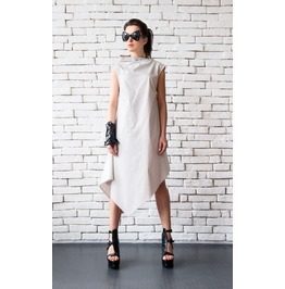 Off White Asymmetric Loose Summer Dress/Sleeveless Maxi Dress/Summer Dress