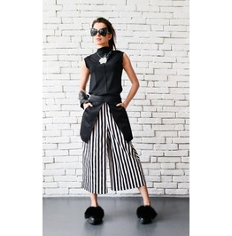 Black And White Stripe Pants/Extravagant Modern Loose Pants/Summer Pants