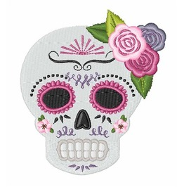 Embroidered Sugar Skull With Roses Patch Iron/Sew On Dia Di Los Muertos