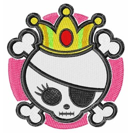 Embroidered Princess Skull And Crossbone Patch Iron/Sew On
