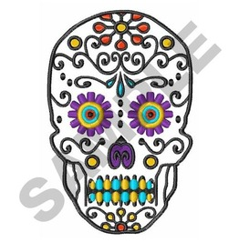 Embroidered Fancy Sugar Skull Appliqué Patch Iron/Sew On