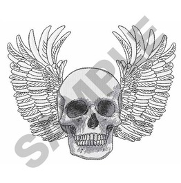 Embroidered Large Winged Skull Iron/Sew On Patch