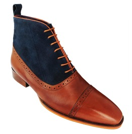Men Two Tone Boot, Men Tan And Blue Oxford Brogue Boot, Men Ankle Boots