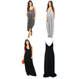 Black Grey Charcoal Pocket Maxi Dress Casual Light Festival Sundress S Xl
