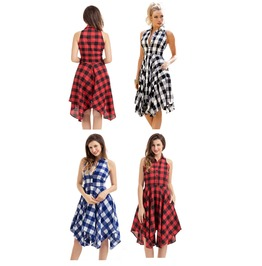 Black Blue Red Tartan Plaid Skater Shirt Dress Flared Sundress S Xxl