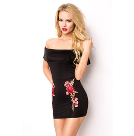 Black Rose Flower Embroidered Off Shoulder Mini Dress Bodycon S M L
