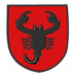 Embroidered Red And Black Scorpion Patch Iron / Sew On Patch Biker Patch