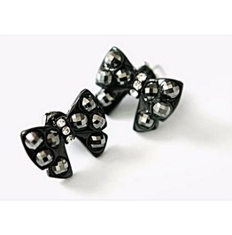 Cute Black Crystal Rhinestone Bowknot Butterfly Stud Earrings
