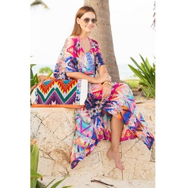 Multicolour Print Kaftan Maxi Dress Beach Cover O/S Boho Tunic