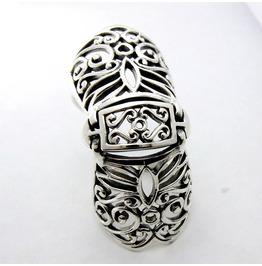 925 Solid Sterling Silver Finger Engraved Armor Free Size Biker Unisex Ring