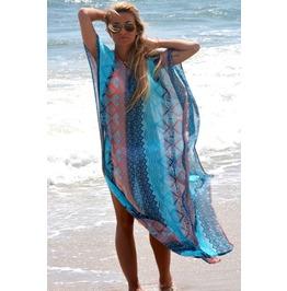 Patterned Chiffon Kimono High Slits Beachwear Pool Beach Cover Up Dress