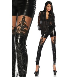 Black Faux Leather Leggings Lace Up Legs Punk Goth S M Skinny Pants