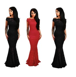 Black Navy Red Bardot Lace Fishtail Maxi Evening Dress Gothic Off Shoulder