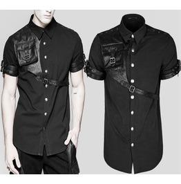 Men Gothic Shady Shirt Black Short Sleeved Steampunk Shirt W Leather Starps