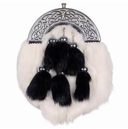 White Rabbit Fur Leather Scottish Sporran With Contrast Black Tessals