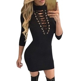 Black Grommet Lace Up Front Sleeved Bodycon Dress Lace Up