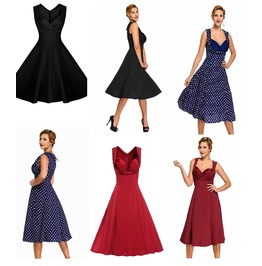 Vintage Style 50's Swing Dress Black Burgundy Blue Polka Dot S To Xxxl