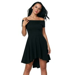 Black Off The Shoulder Little Skater Dress Flared Vintage Asymmetric Hem