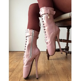 18cm Fetish Ballet Calf Hi Boot Charm Burlesque Dominatrix Bdsm Gold Pink