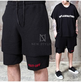 Double Layered Black Drawcord Sweat Shorts 77