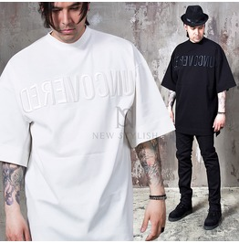 Lettering Embroidered Incision Short Sleeves Shirts 737