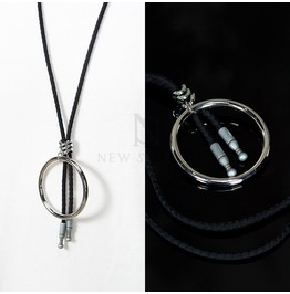 Silver Circle Pendant In Adjustable Black Rope Necklace 58