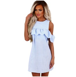 Women's Round Collar Striped Off Shoulder Flounce Dress