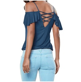Women's Open Shoulder Ruffles Lace Up Backless Tops
