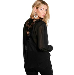 Black Chiffon Crochet Back Wrap Front Blouse Top Hi Low Hem S To Xxl