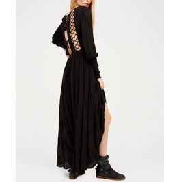 Women's Deep V Neck Lace Up Backless Long Sleeve Maxi Dress