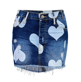 Women's Heart Printed Buckle Washed Denim Package Hip Skirts