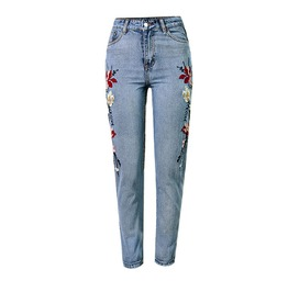 Women's Embroidered Floral Skinny High Waist Ankle Length Jeans