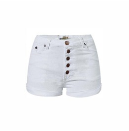 Women's Casual White Hemming Buckle High Waisted Denim Shorts With Pockets