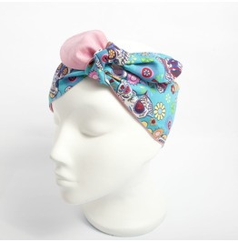 Turquoise And Pink Reversible Day Of The Dead Sugar Skull Print Head Scarf