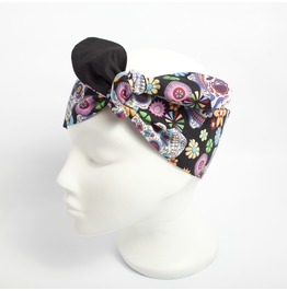 Black Reversible Day Of The Dead Sugar Skull Print Head Scarf