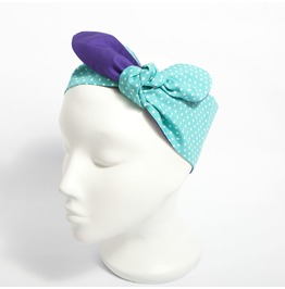 Turquoise Polka Dot And Purple Reversible Fabric Head Scarf