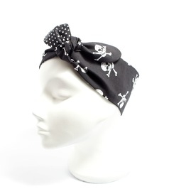 Black And White Skull And Cross Bones Polka Dot Reversible Fabric Head Scar