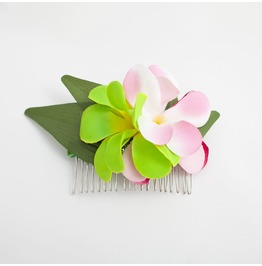 Pink And Lime Tropical Plumeria Frangipani Hair Comb