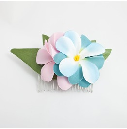 Pink And Blue Hawaiian Plumeria Frangipani Hair Comb