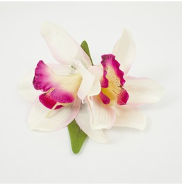 Double Ivory And Fuchsia Pink Orchid Hair Flower