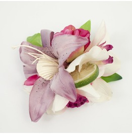 Pink Ivory And Heather Tropical Lime Slice And Seashell Hair Flower
