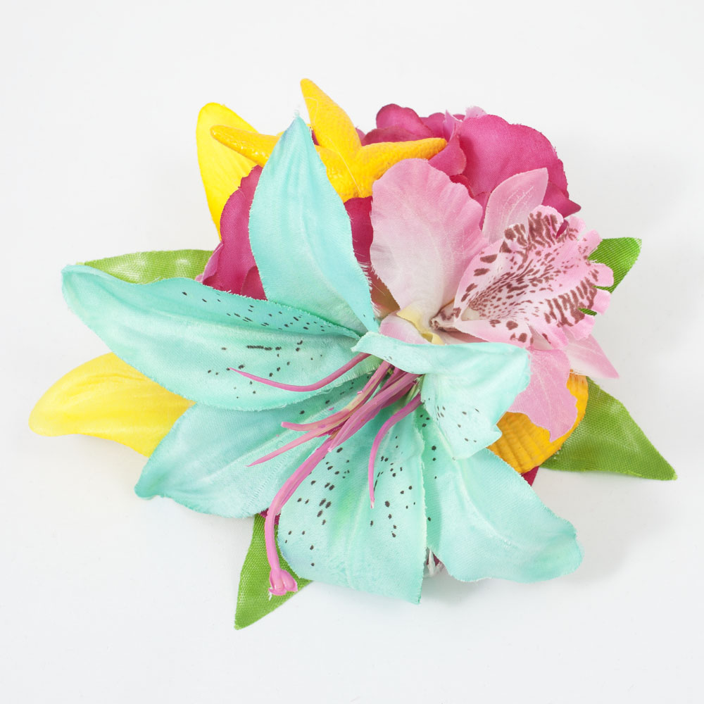 Turquoise Pink And Yellow Tropical Lily Orchid And Rose Starfish And