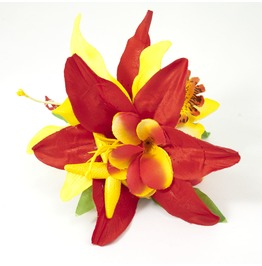 Red Yellow Orange Tropical Seashell Starfish Hair Flower