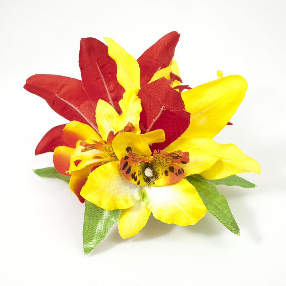 Red Yellow Orange Tropical Seashell Starfish Hair Flower 142729