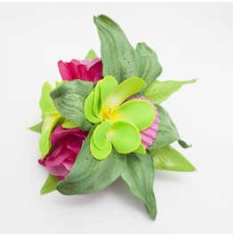 Green And Hot Pink Rose And Lily Seashell Hairflower