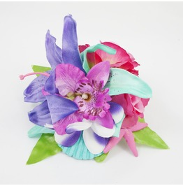 Purple Pink Turquoise Tropical Lily Rose Orchid Seashell And Starfish Hair