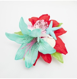 Turquoise Red And Pink Tropical Seashell Starfish Hair Flower