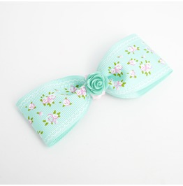 Mint Resin Rose Cabochon Grosgrain Hair Bow