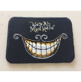 Embroidered Were All Mad Here Madhatter Patch Iron/Sew On Alice In Wonderla