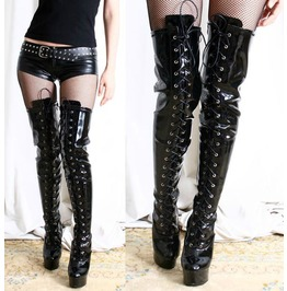 Extreme Fetish 15cm Platform Heel Lace Up Mid Thigh 60cm Shaft Boots Patent